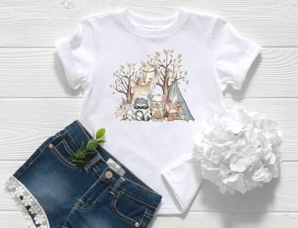 Boho Woodland Animals Toddler Shirt