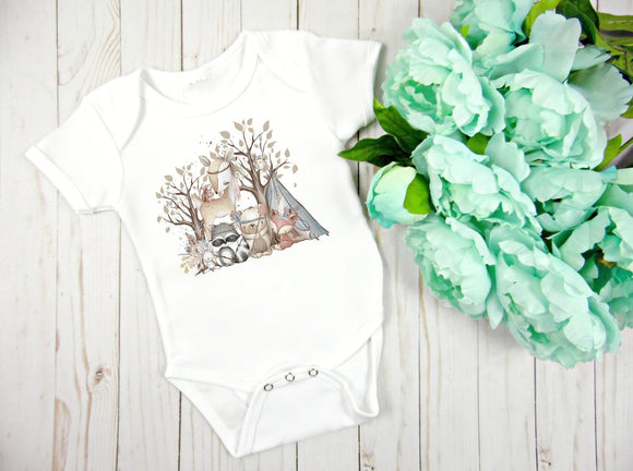 Boho Woodland Animals Baby Bodysuit