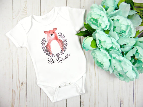 Be Brave Bear Baby Bodysuit