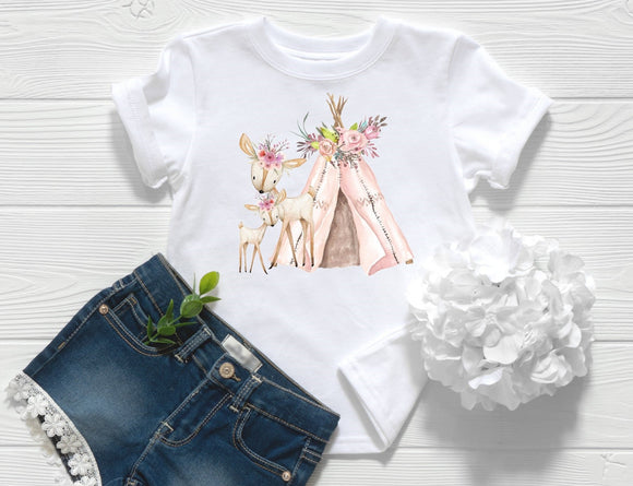Boho Deer and Teepee Toddler Shirt