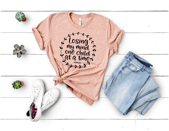 Losing my mind one child at a time T-Shirt - Peach
