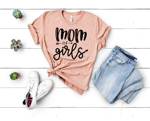 Mom of Girls Tee - Peach