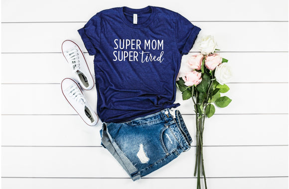 Super Mom, Super Tired Tee - Navy