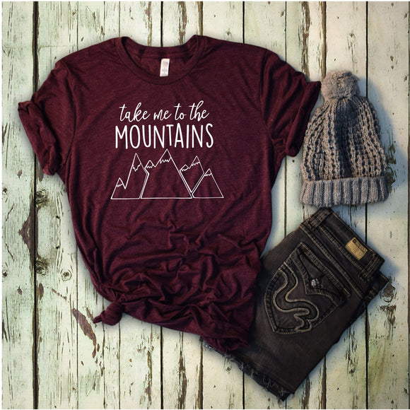 Take me to the Mountains T-Shirt - Maroon