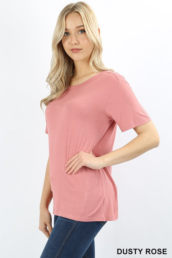 Scoop Neck Box Tee - Dusty Rose