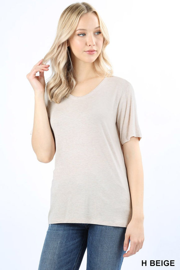 Scoop Neck Box Tee - Heather Beige