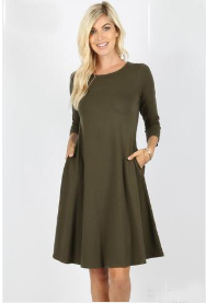 Plus Size Dark Olive 3/4 sleeve classic A-Line dress with side pockets