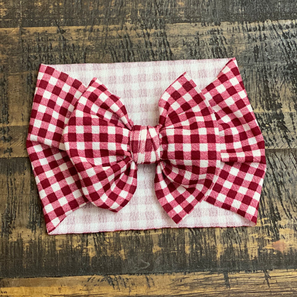 Burgundy Gingham Headwrap