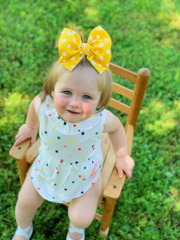 Yellow Polka Dot Bows