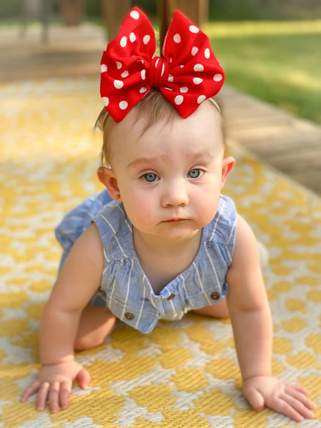 Red/White Polka Dot Bow