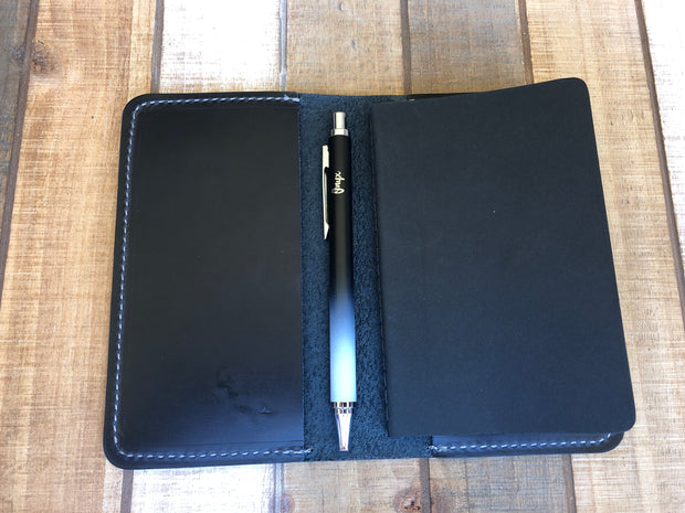 Navy Blue Leather Notebook Cover
