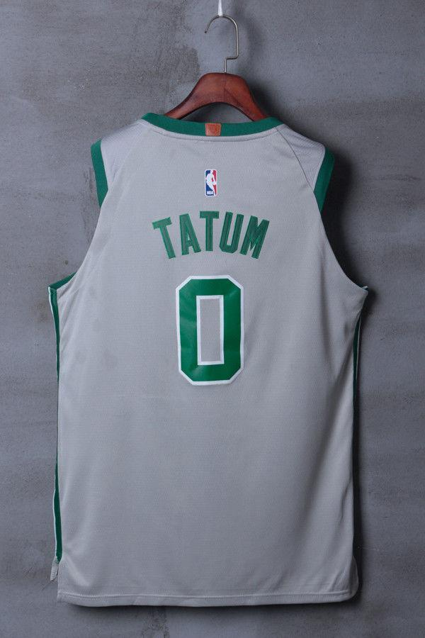 best website 85781 2da16 Men 0 Jayson Tatum Jersey City Edition Gray Boston Celtics Jersey Player