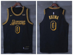 2129de2af17 Men 0 Kyle Kuzma Jersey City Edition Black Los Angeles Lakers Authentic  Player