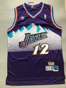 9fcd3a8391a Men 12 John Stockton Jersey Purple Utah Jazz Jersey Throwback Swingman