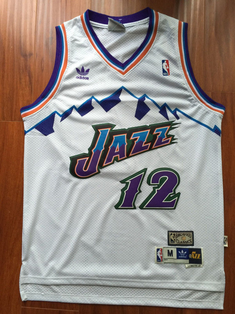 buy popular 4b63e bf3b3 Men 12 John Stockton Jersey White Utah Jazz Jersey Throwback Swingman