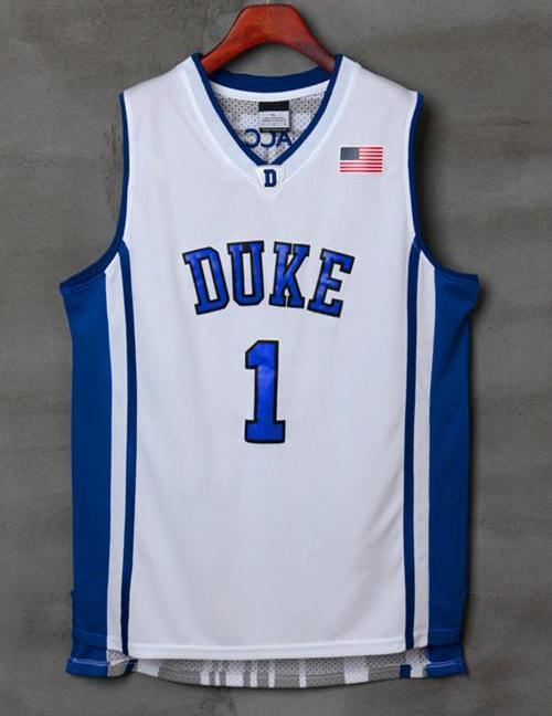 low priced 84f5a b6873 Men 1 Kyrie Irving Jersey White Duke Blue Devils Swingman Jersey