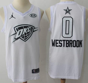 ad08bdfc286 Men 2018 All Star 0 Russell Westbrook Jersey White OKC City Thunder ...