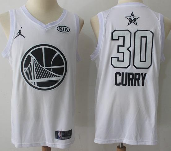 low priced 5767d acfa7 Men 2018 All Star Stephen Curry Jersey White Golden State Warrior