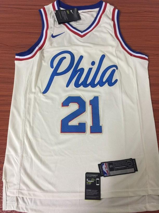 uk availability d45f3 5f568 Men 21 Joel Embiid City Jersey White Philadelphia 76ers City Edition  Fanatics
