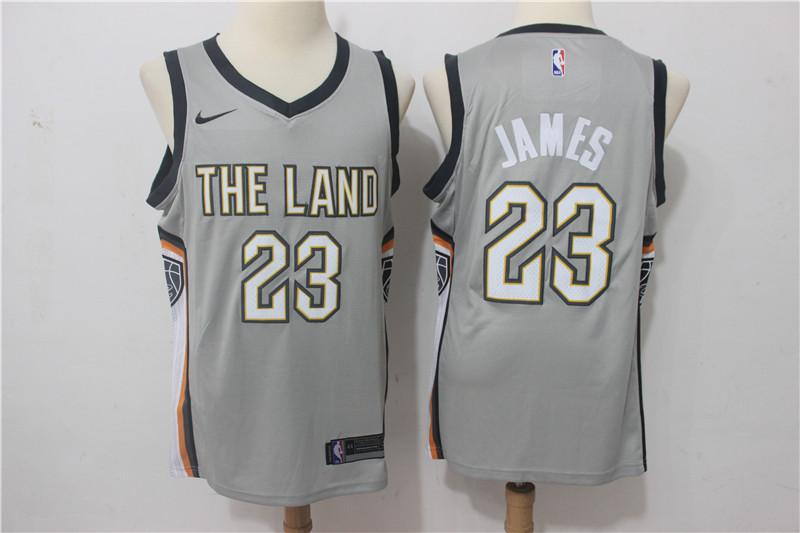 fc929b246885 ... Men Cleveland Cavaliers 23 Lebron James Jersey Gray the Land Fanatics  ...