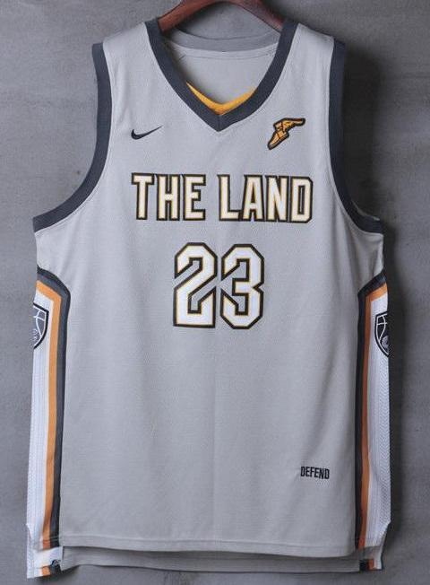 finest selection 65b3a 9a774 Men 23 Lebron James the Land Jersey Gray Cleveland Cavaliers City Player