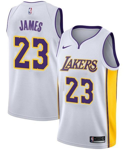 best website f439b 42d65 Men 23 Lebron James Jersey White Los Angeles Lakers Swingman Jersey