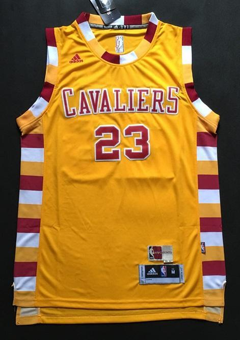 sports shoes 6c047 8ee04 Men CAVS 23 Lebron James Jersey Yellow Cleveland Cavaliers Jersey Swingman