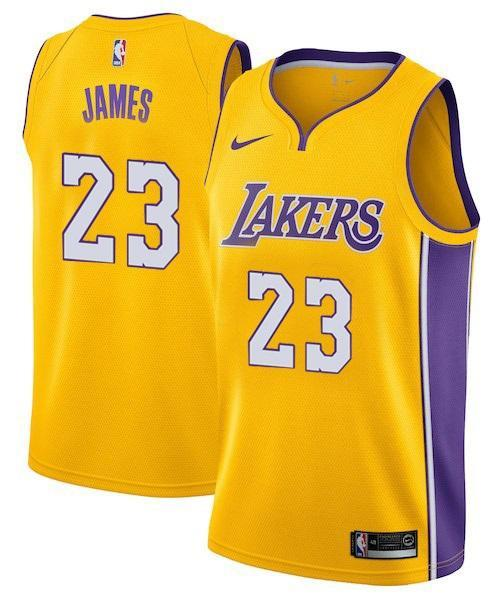 new concept 80f75 06f35 Men 23 Lebron James Jersey Yellow Los Angeles Lakers Swingman Jersey