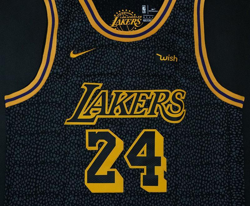 93225519b29 ... Men 24 Kobe Bryant Jersey City Edition Black Los Angeles Lakers Jersey  Player ...