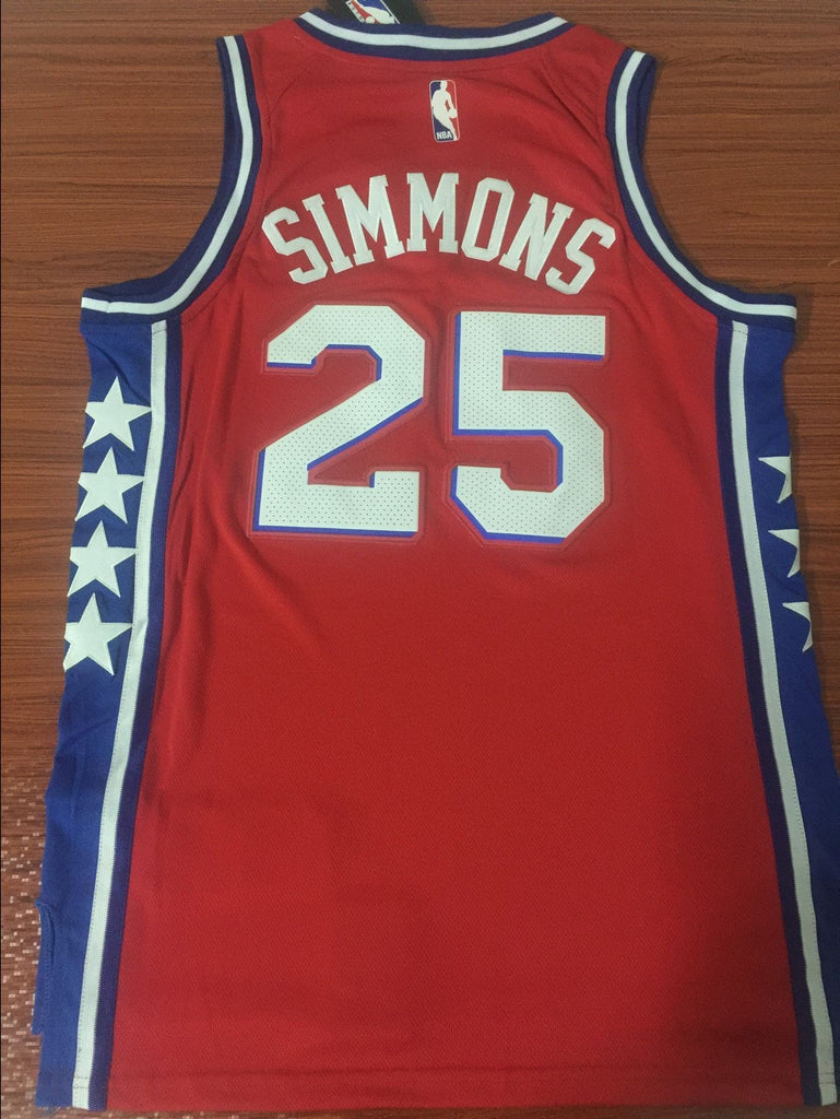 reputable site 56603 ab5e0 Men 25 Ben Simmons 76ers Jersey Red City Edition Philadelphia 76ers Jersey