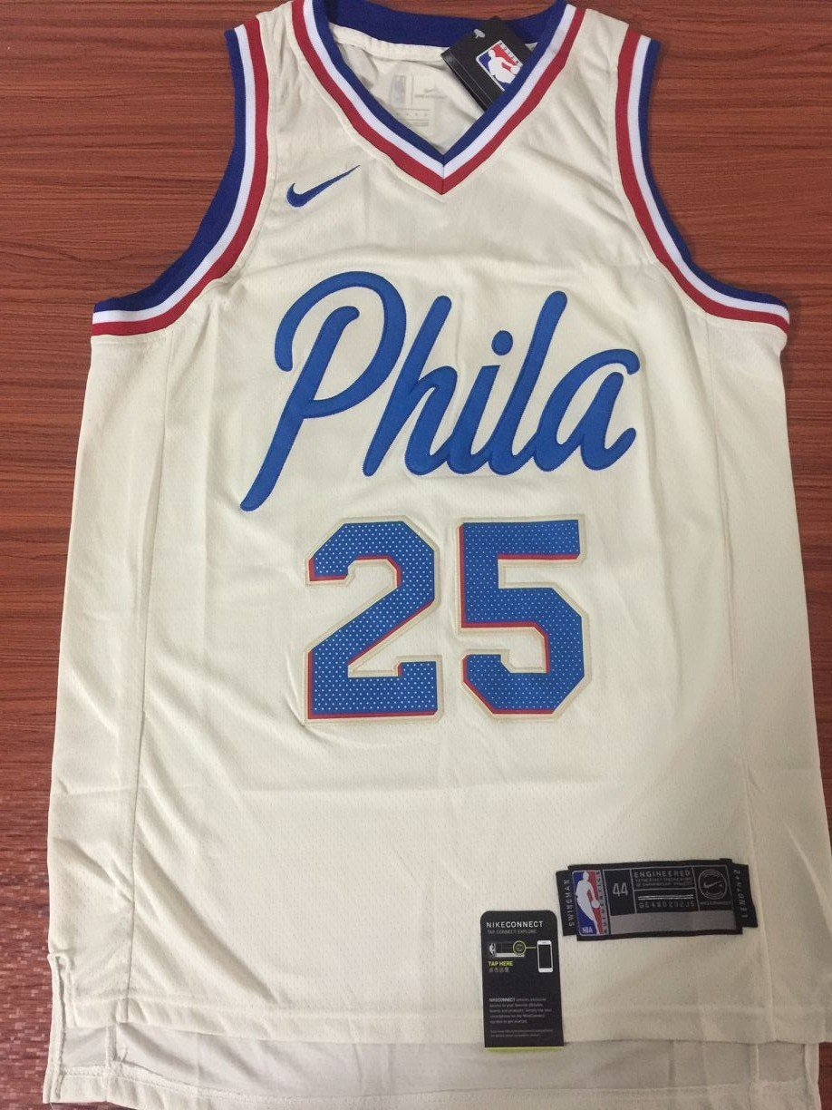 competitive price f8adf d3408 Men 25 Ben Simmons City Jersey White Philadelphia 76ers City Edition Jersey