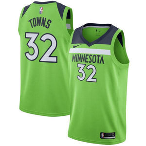 best sneakers 93dea ca0b1 Men 32 Karl Anthony Towns Jersey Green Minnesota Timberwolves Fanatics