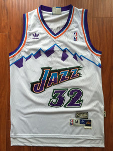 ... france men 32 karl malone jersey white utah jazz jersey throwback  swingman 55fba 636be 8d156d4ee