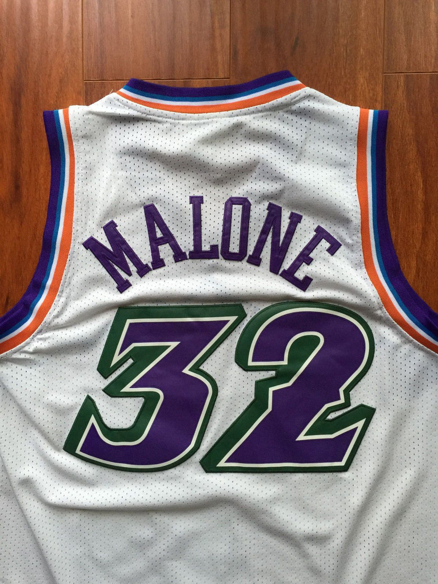 finest selection 8f3a6 40b7f Men 32 Karl Malone Jersey White Utah Jazz Jersey Throwback Swingman