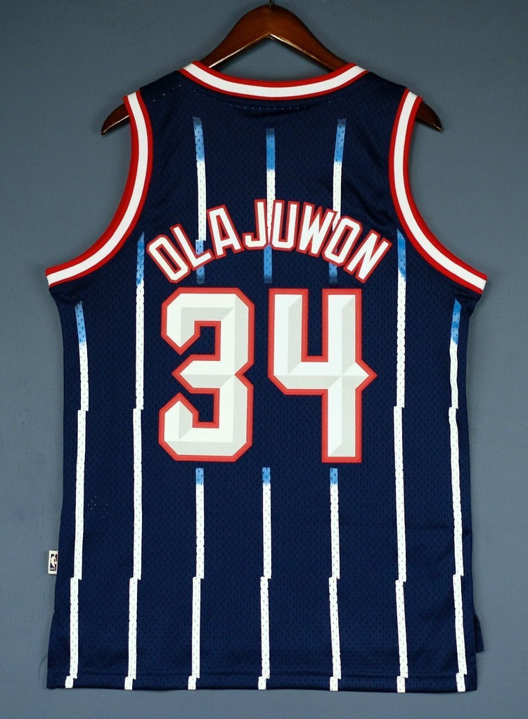 ... Men 34 Hakeem Olajuwon Jersey Blue Houston Rockets Jersey Hardwood  Classics ... 80349dc28