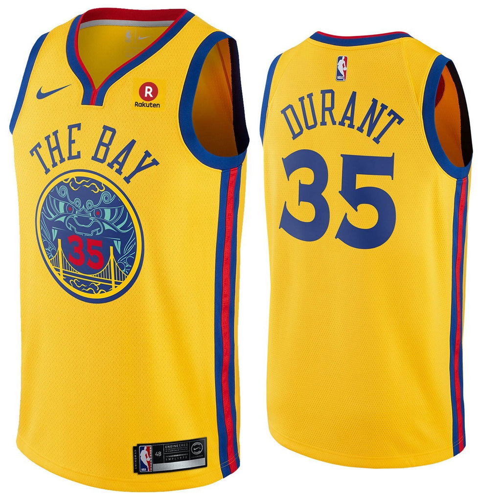 sale retailer bd2ac 8d354 Men 35 Kevin Durant Jersey Yellow The Bay Golden State Warriors City Edition