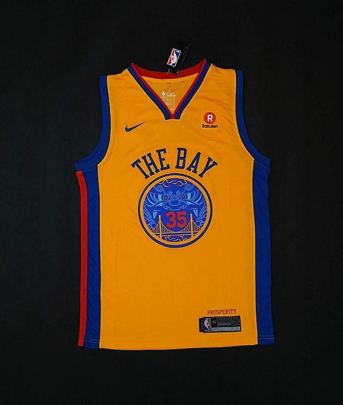 sale retailer db82f fb945 Men 35 Kevin Durant Jersey Yellow The Bay Golden State Warriors City Edition