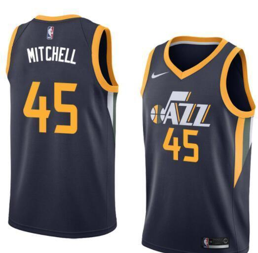 95c7236cf4bf Men 45 Donovan Mitchell Jersey Black Blue Utah Jazz Fanatics Swingman ...