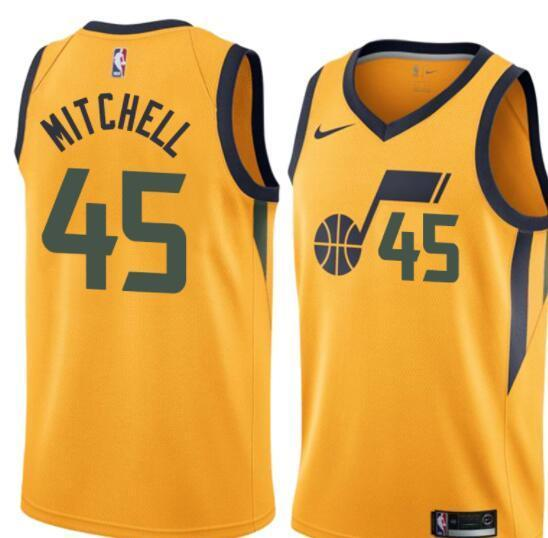 fbf2cd7e6 Men 45 Donovan Mitchell Jersey Yellow Utah Jazz Swingman Fanatics ...
