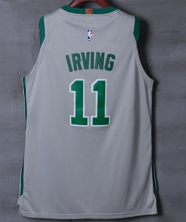best service 58394 4438f Men Boston Celtics 11 Kyrie Irving Jersey Gray Authentic Player