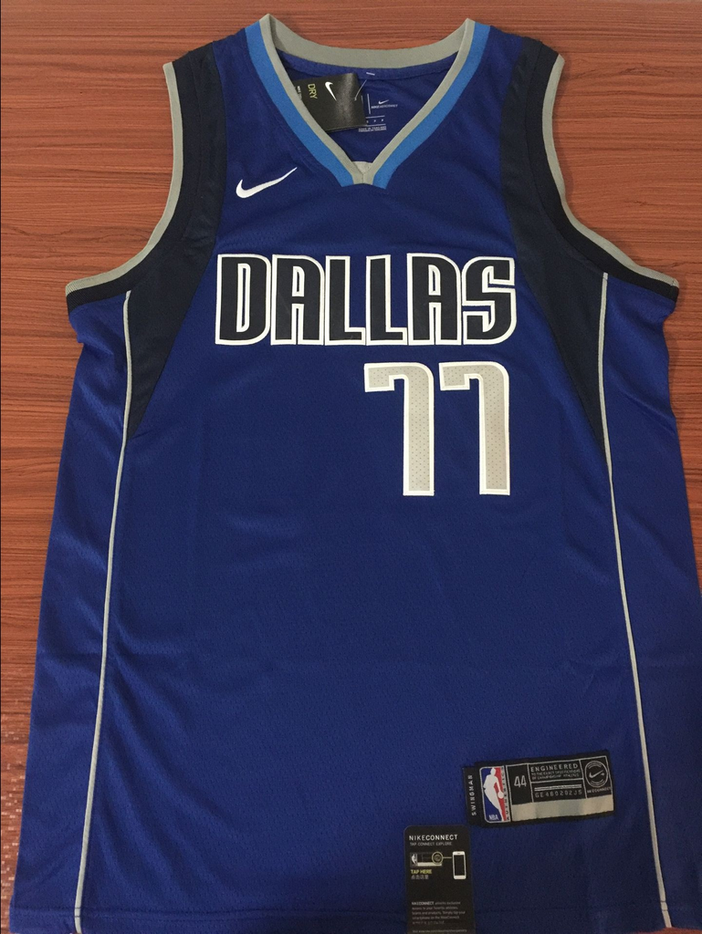 63a7b296fdb ... Men 77 Luka Doncic Jersey Blue Dallas Mavericks Jersey Swingman  Fanatics ...