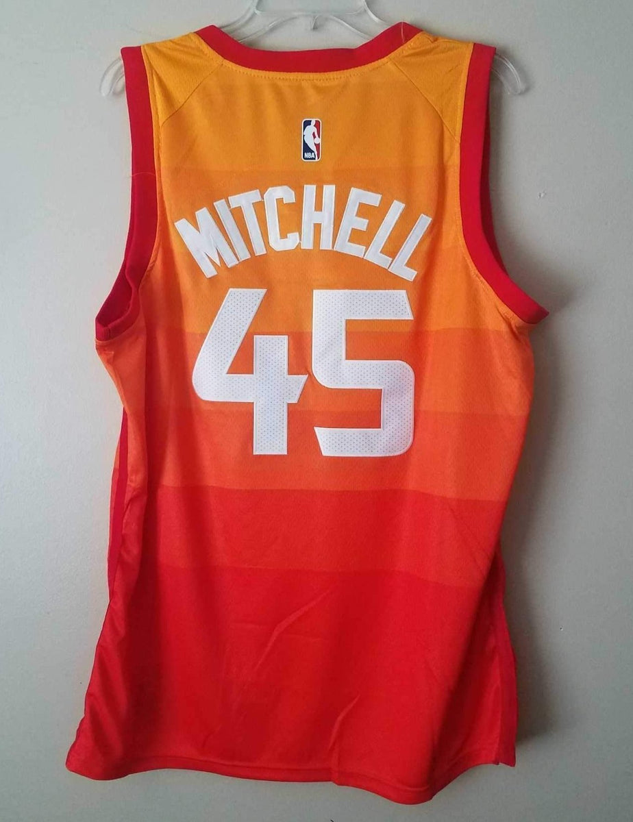 finest selection ac0bd 1077a Men 45 Donovan Mitchell Jersey City edition Yellow Orange Utah Jazz