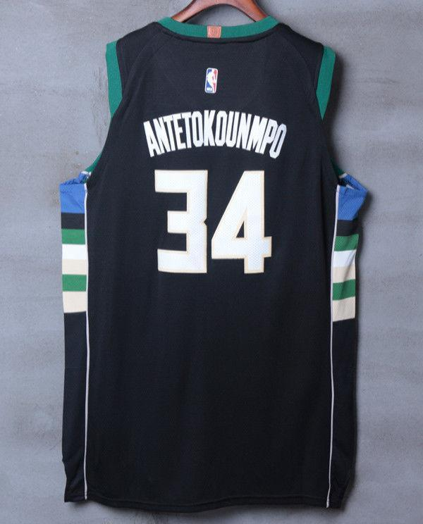 promo code 1abfe 8c3af Men 34 Giannis Antetokounmpo Jersey Black Milwaukee Bucks Authentic Player