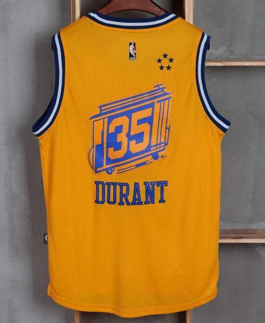 new products b4f62 8a519 Men GSW 35 Kevin Durant Jersey Yellow City Edition Golden State Warriors