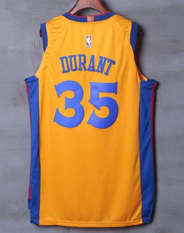 huge discount 9a51b 0244e Men 35 Kevin Durant the Bay Jersey Yellow Golden State Warriors Player