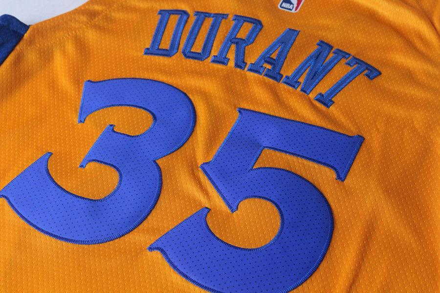 huge discount 7b1d6 807c6 Men 35 Kevin Durant the Bay Jersey Yellow Golden State Warriors Player