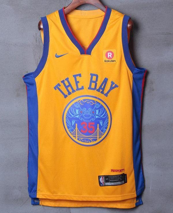 huge discount e334d 653cc Men 35 Kevin Durant the Bay Jersey Yellow Golden State Warriors Player