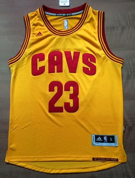 db392963e36 Men CAVS 23 Lebron James Swingman Jersey Yellow Cleveland Cavaliers Jersey  ...