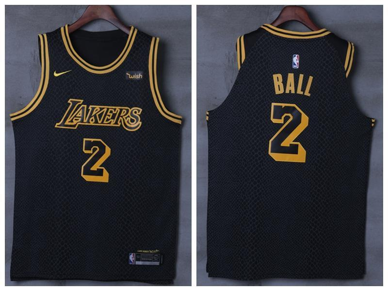 reputable site 058ce 86c84 Men 2 Lonzo Ball Jersey Black Los Angeles Lakers Jersey Swingman Player