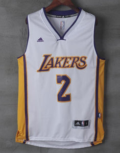 new styles 58374 868a2 Men 2 Lonzo Ball Jersey White Los Angeles Lakers Jersey Throwback Swingman